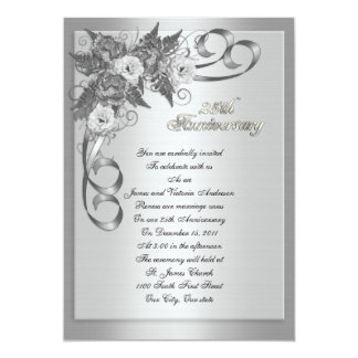25th Wedding anniversary vow renewal White roses Invitations