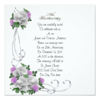 25th Wedding anniversary vow renewal White roses 13 Cm X 13 Cm Square Invitation Card