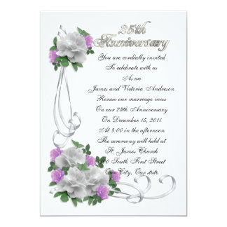 25th Wedding anniversary vow renewal White roses Personalized Invitation