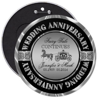 25th Wedding Anniversary-Wedding Horse & Carriage 6 Cm Round Badge