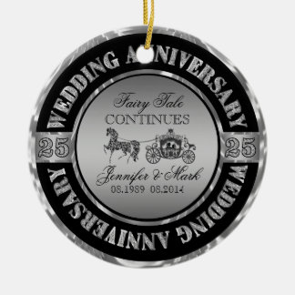 25th Wedding Anniversary-Wedding Horse & Carriage Christmas Tree Ornament