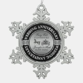 25th Wedding Anniversary-Wedding Horse & Carriage Pewter Snowflake Decoration