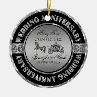 25th Wedding Anniversary-Wedding Horse & Carriage Round Ceramic Decoration