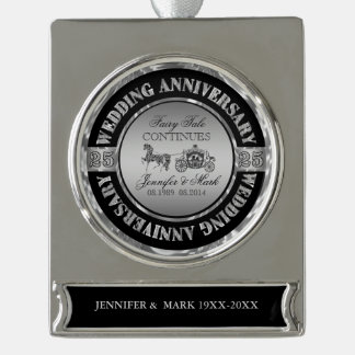 25th Wedding Anniversary-Wedding Horse & Carriage Silver Plated Banner Ornament