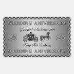 25th Wedding Anniversary-Wedding Horse & Carriage Rectangle Sticker