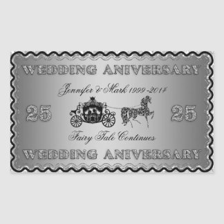 25th Wedding Anniversary-Wedding Horse & Carriage Rectangle Stickers
