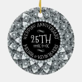 25th Wedding Anniversary White Diamonds And Black Round Ceramic Decoration