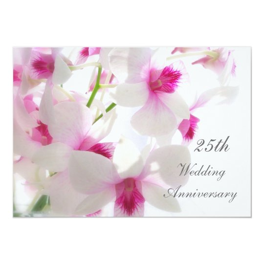 25th Wedding Anniversary. White orhcids Card