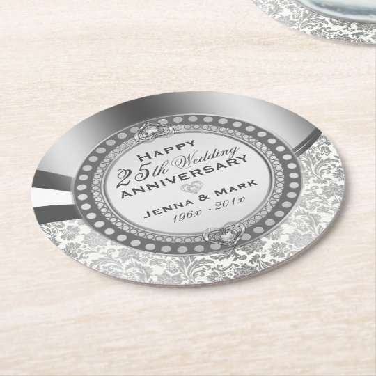 25th Wedding Anniversary White & Silver Damasks Round