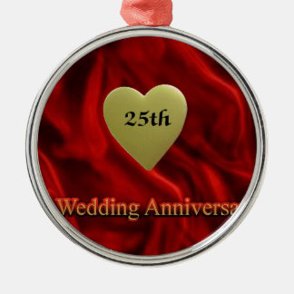 25th wedding anniversay Silver-Colored round decoration
