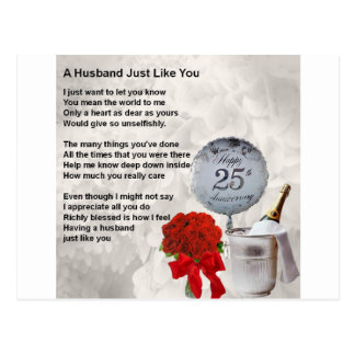 25th wedding husband poem postcard