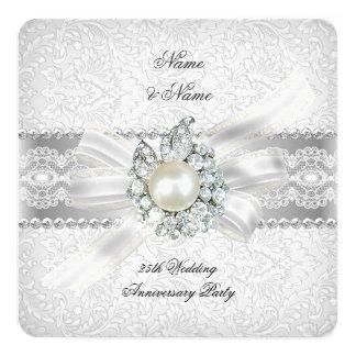 25th Wedding Silver Anniversary Party Lace Pearl 13 Cm X 13 Cm Square Invitation Card