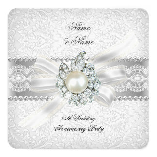 25th Wedding Silver Anniversary Party Lace Pearl Card
