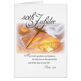 2682 Golden Jubilee Religious Life Cross Candle Greeting Card