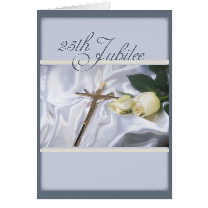 2684   25th Jubilee Cross & Roses Greeting Card
