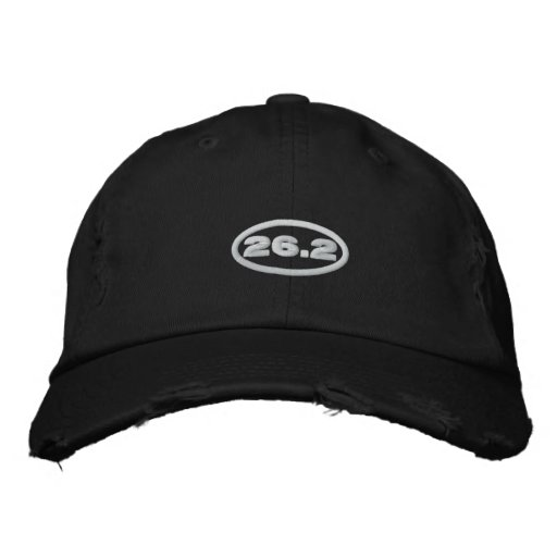 26.2 Hat   Embroidered White Text Embroidered Hat