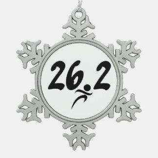 26.2 marathon snowflake pewter christmas ornament