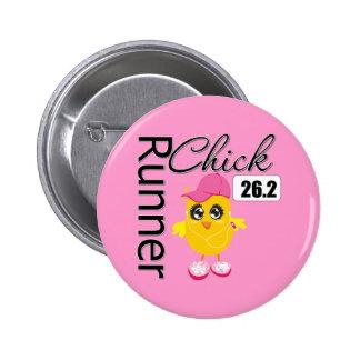 26.2 Miles Marathon Runner Chick Pin