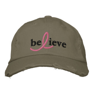($26.95) Believe Breast Cancer Ribbon Hat Baseball Cap