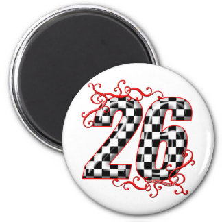 26 checkers flag number 6 cm round magnet