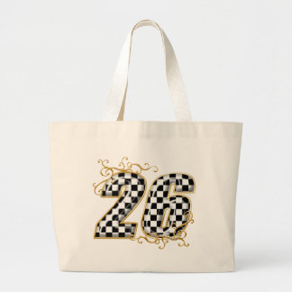 26 gold checkers flag number canvas bag