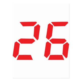 26 twenty-six red alarm clock digital number postcard