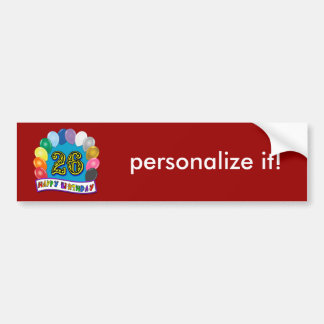 26th Birthday Gifts with Assorted Balloons Design Bumper Sticker