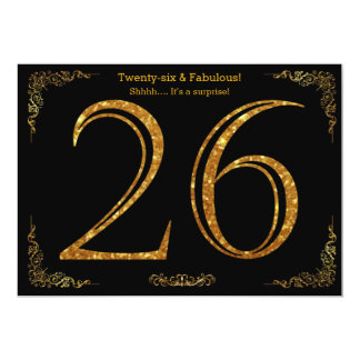 26th Birthday party,Gatsby styl,black gold glitter Card