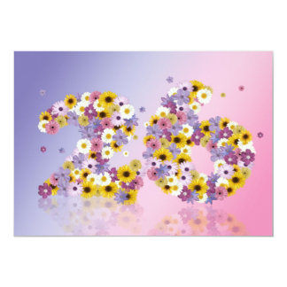 26th Birthday party, with flowered letters 13 Cm X 18 Cm Invitation Card