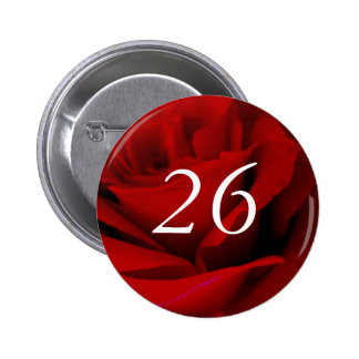 26th Birthday Red Rose Party Favour Pin Button
