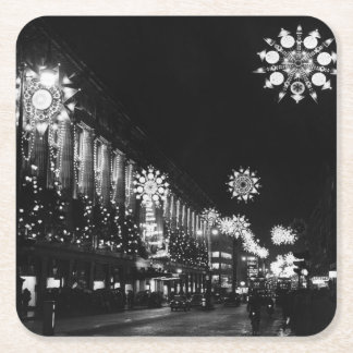26th November 1960: City Christmas Lights Square Paper Coaster