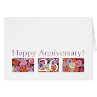 26th Wedding Anniversary Card pastel roses