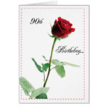 2722 Happy 90th Birthday Red Rose Greeting Card