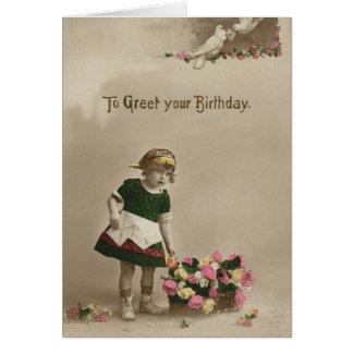 2733 Vintage Flower Girl Birthday Card