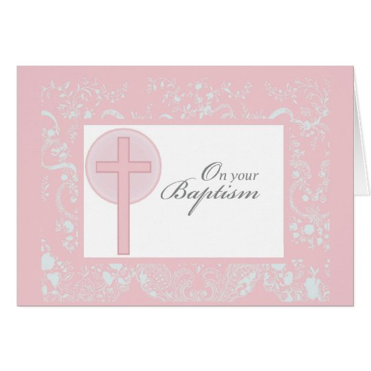 2790 Pink Lace Girl Baptism Card