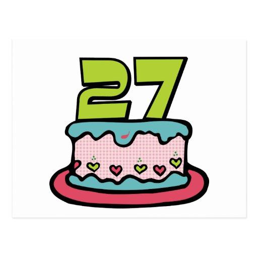 27 Year Old Birthday Cake Post Card