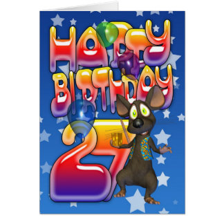 27th Birthday Card, Happy Birthday Card