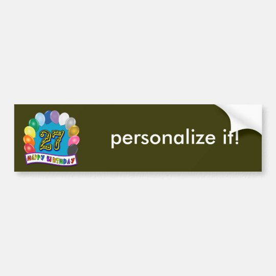 27th Birthday Gifts with Assorted Balloons Design Bumper