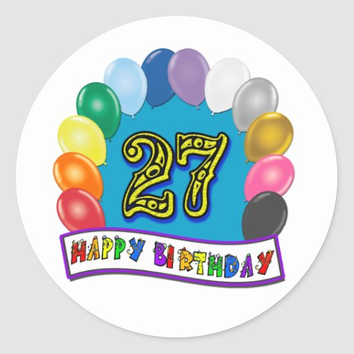 27th Birthday Gifts with Assorted Balloons Design Stickers