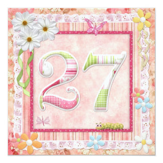 27th birthday party scrapbooking style 13 cm x 13 cm square invitation card