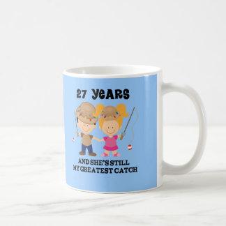 27th Wedding Anniversary Gift For Him Basic White Mug