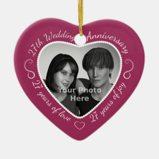 27th Wedding Anniversary Photo Christmas Ornament
