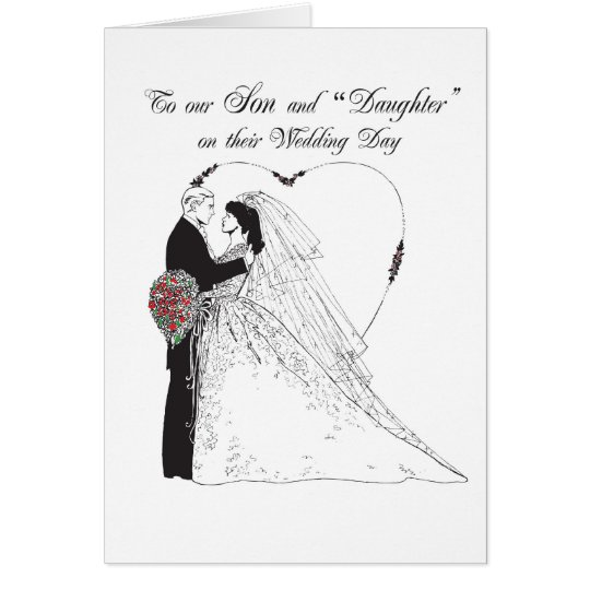 """2849 Son and """"Daughter"""" on Wedding Day Card"""