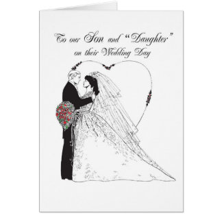 "2851 Son and ""Daughter""  on Wedding Day Greeting Card"