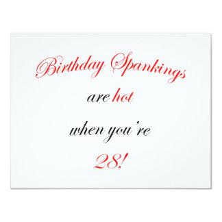 28 Birthday Spanking 11 Cm X 14 Cm Invitation Card