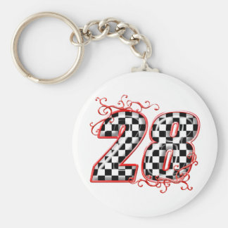 28 checkers flag number basic round button key ring