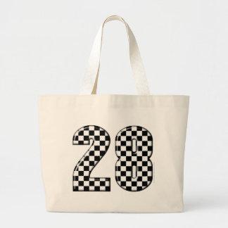 28 checkers flag number jumbo tote bag