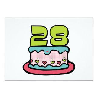28 Year Old Birthday Cake 13 Cm X 18 Cm Invitation Card
