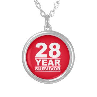 28 year survivor round pendant necklace