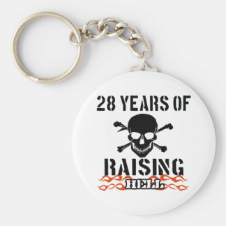 28 years of raising hell basic round button key ring